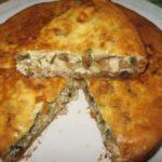 Пирог курино-грибной по Дюкану.